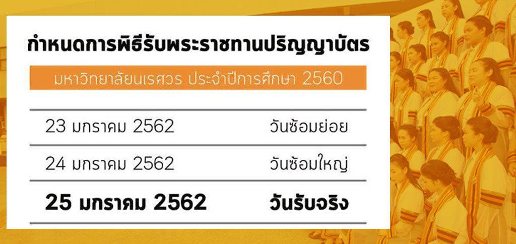 กำหนดการพิธีพระราชทานปริญญาบัตร มหาวิทยาลัยนเรศวร ประจำปีการศึกษา 2560