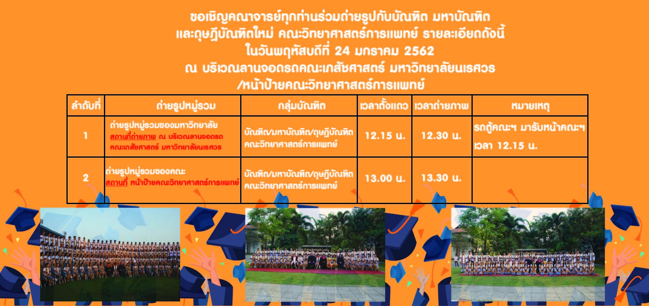 ขอเชิญคณาจารย์ทุกท่านร่วมถ่ายรูปกับบัณฑิต มหาบัณฑิต และดุษฎีบัณฑิตใหม่ คณะวิทยาศาสตร์การแพทย์ รายละเอียดดังนี้ ในวันพฤหัสบดีที่ 24 มกราคม 2562 ณ บริเวณลานจอดรถคณะเภสัชศาสตร์ มหาวิทยาลัยนเรศวร /หน้าป้ายคณะวิทยาศาสตร์การแพทย์
